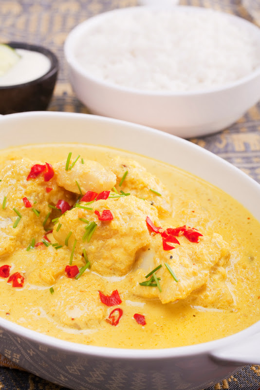 Indian Meal of Coconut Fish Curry