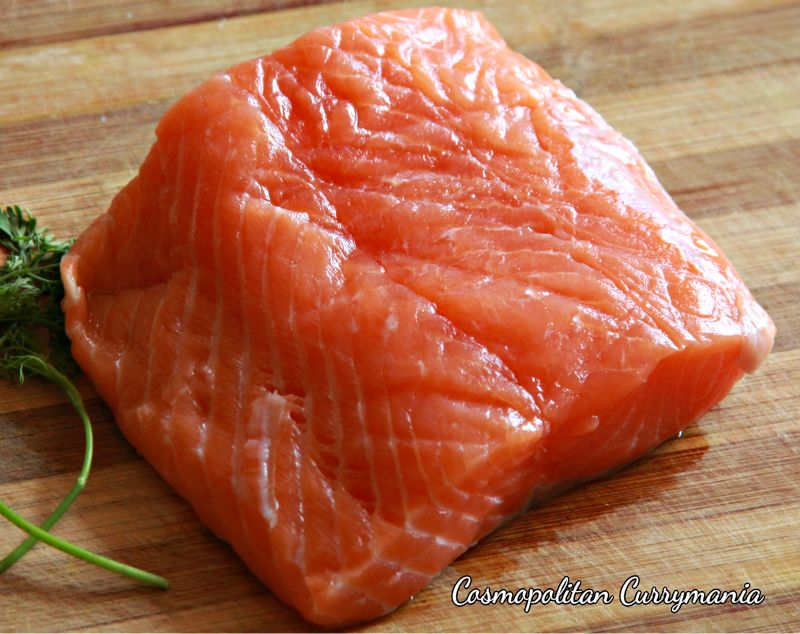 A glistening slab of Atlantic Salmon ready to be cooked!