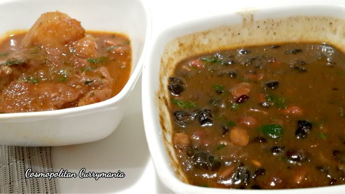 Left: the unforgettable lamb curry with potato. Right: Bhatt ki Churkani.