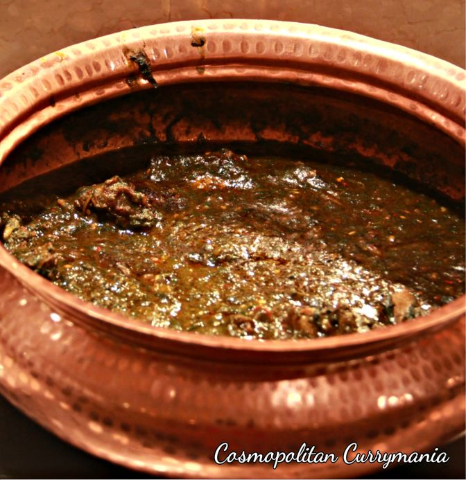 The Palak Kachmuli in the main course is a dish from Uttarakhand, where the meat is cooked in a smooth spinach gravy..