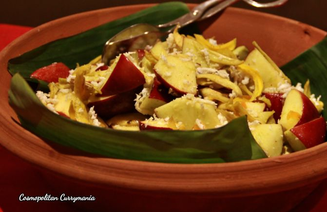 Sukhe Aam ka Salad (a unique salad using apple and dry green mangoes).