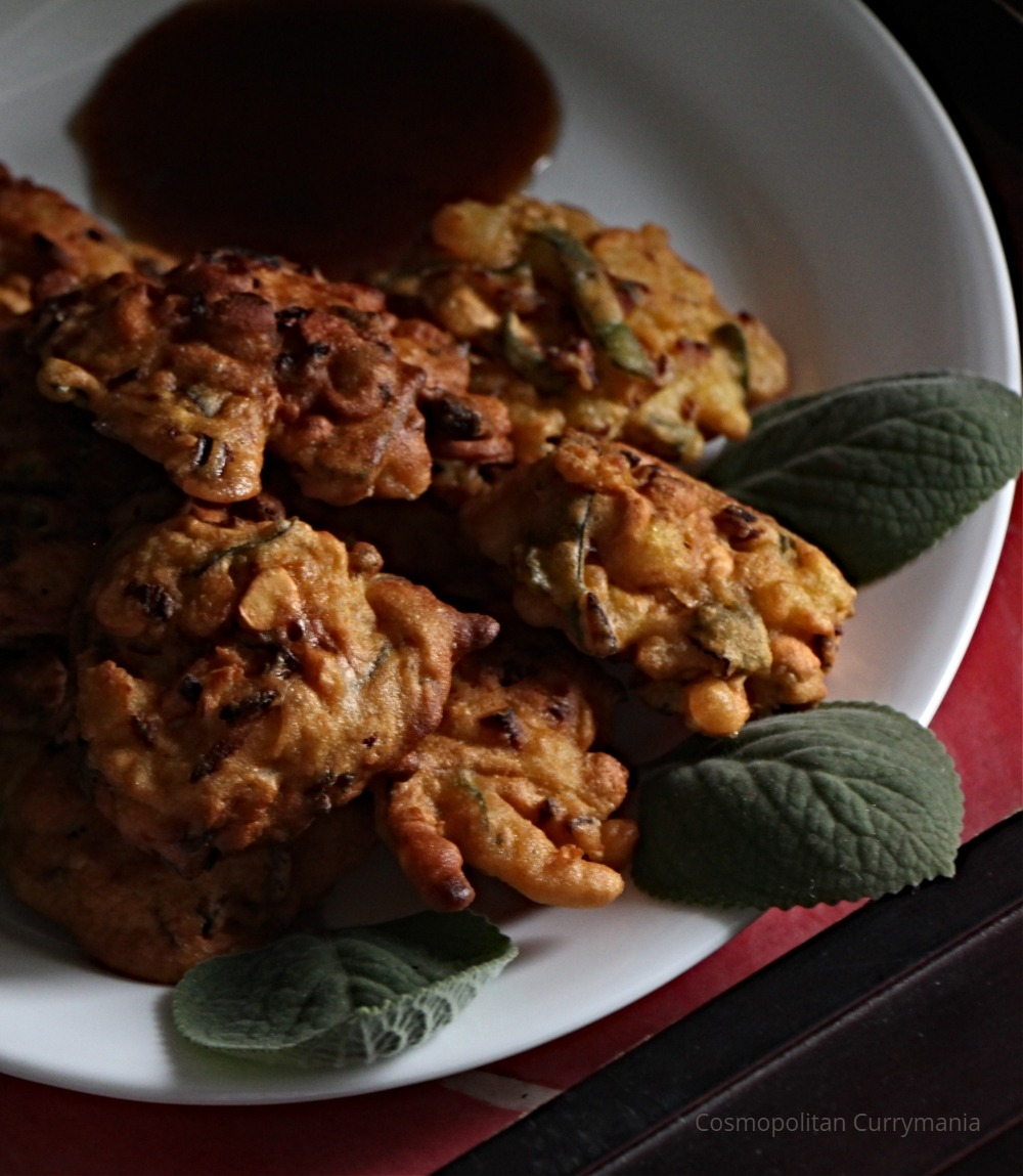 Pakoras or fritters of carom seed leaves and shrimps