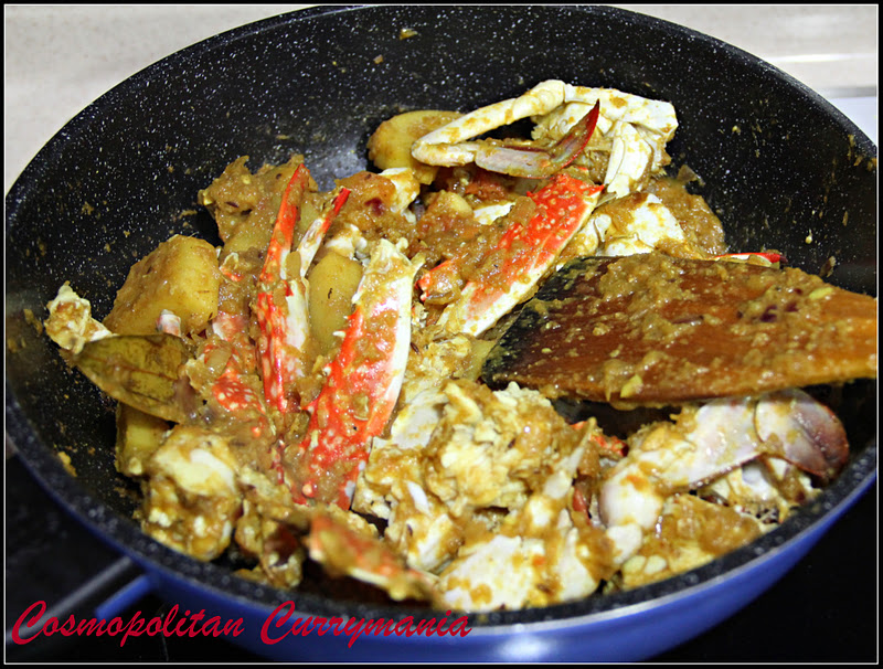 Drying up process for Indian Crab Curry by Purabi Naha