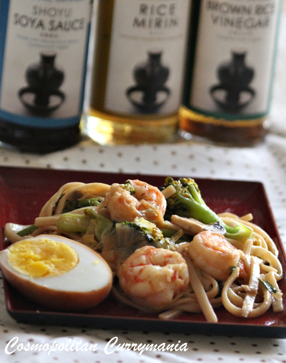 Yakiudon with Shrimps and Vegetables