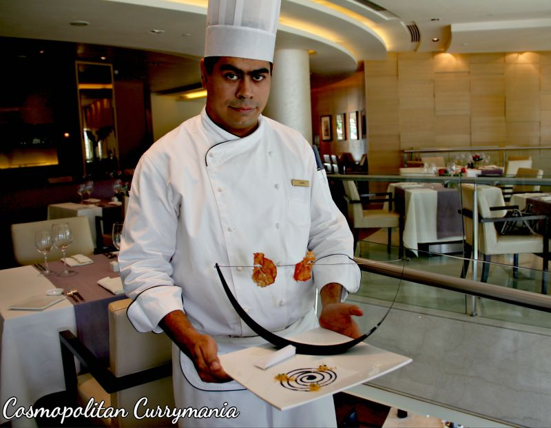 Chef Sushil with his culinary creation: amuse bouche.