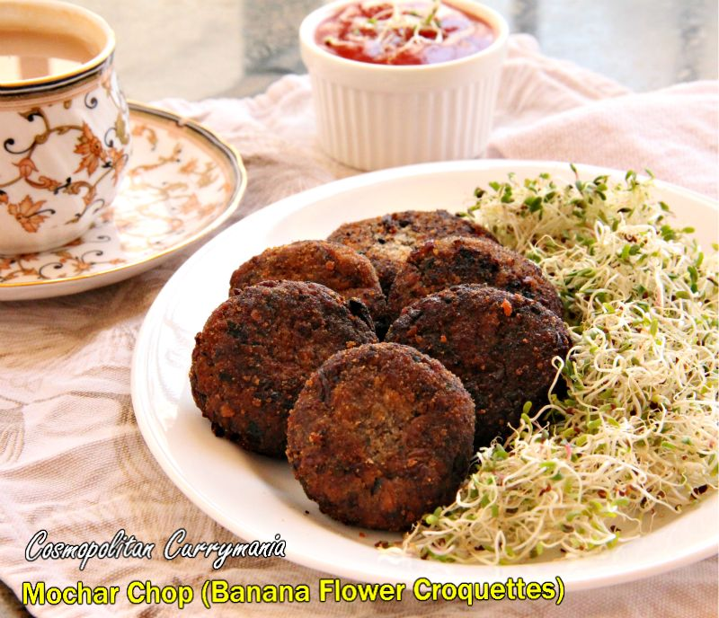 My own way of serving Mochar Chops: I added a handful of alfalfa sprouts to the plate, alongside tomato ketchup!