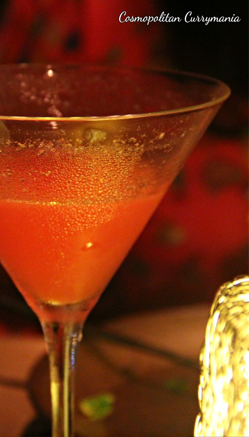 Try this cocktail along with your kebabs. It is called Mirch Melon: a blend of Vodka, watermelon juice and a hint of chillies. We also liked the Maratha Martini (a white, chilli-flavoured Martini) and the humble green apple Froito.