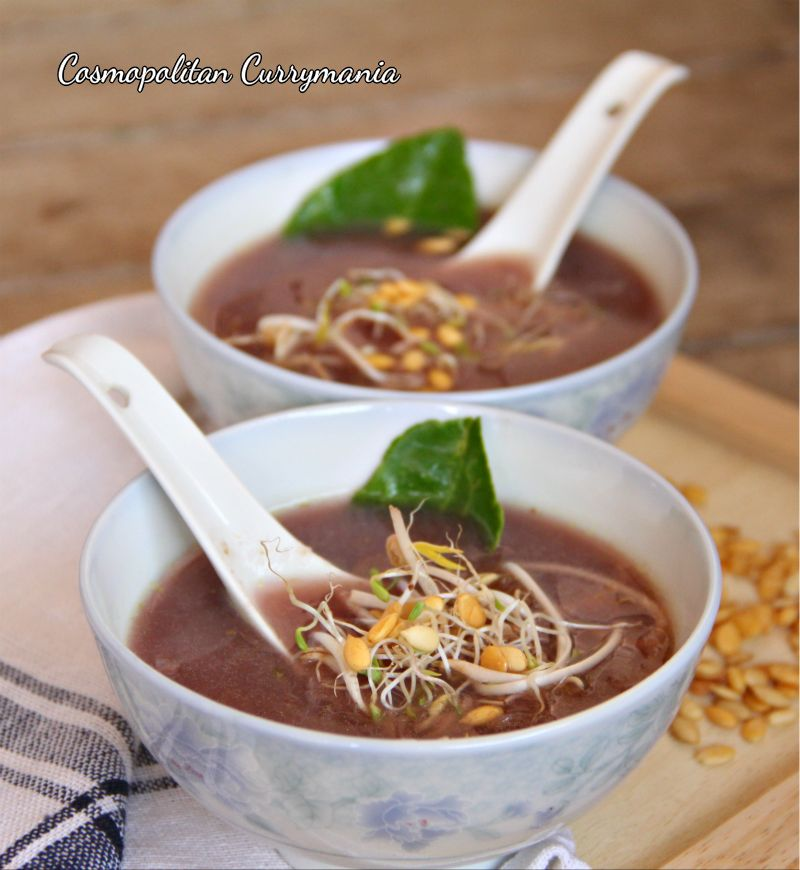 Sprout and Red Cabbage Soup is a wonderful detox soup that is easy to make and is completely vegetarian. The high water content of sprouts is helpful in removing toxins from the body. Red cabbage is an amazing detox ingredient owing to its antioxidant properties.