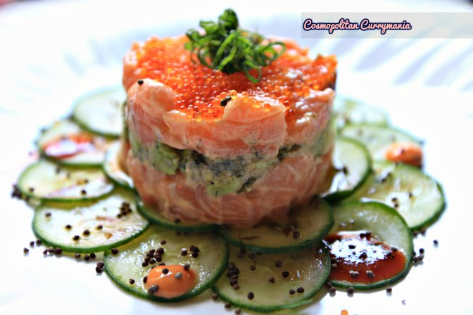 Doesn't this look stunning? It tastes even better. This Salmon Tartare could not be any better with those cucumber slivers with Tobiko and Bonito mayo. Holy yum!