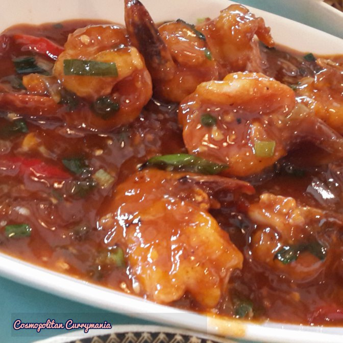 Sauteed prawns in chilli oyster sauce.