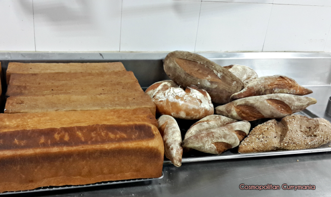 Fresh breads just out of the oven in the baking room.