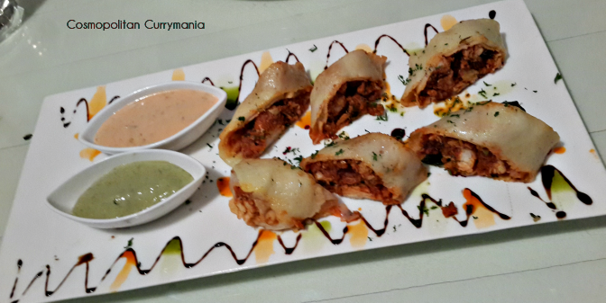 The Neer Dosa Sukka Rolls were served with two flavours of Mayo.