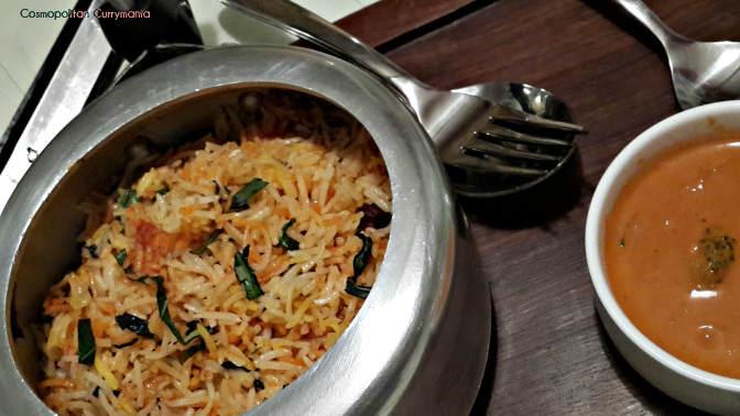 The Thai Chicken Biryani was served in a mini pressure cooker!