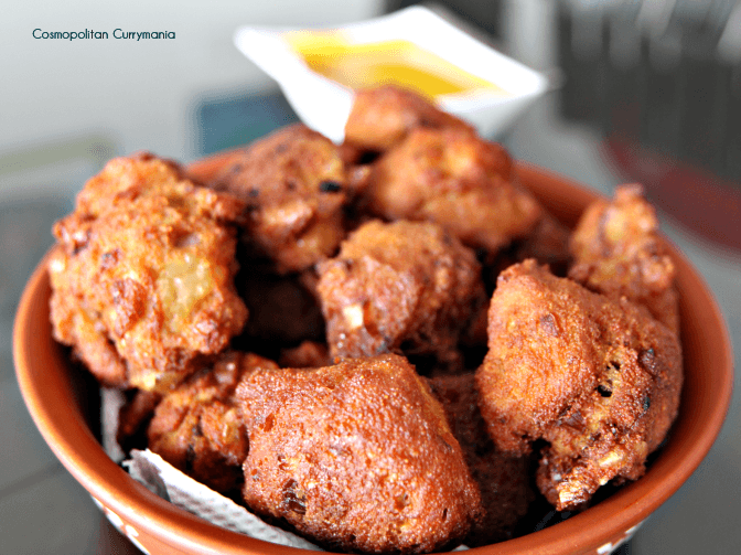Maacher Dimer Bora: fish roe fritters coked in bengali style