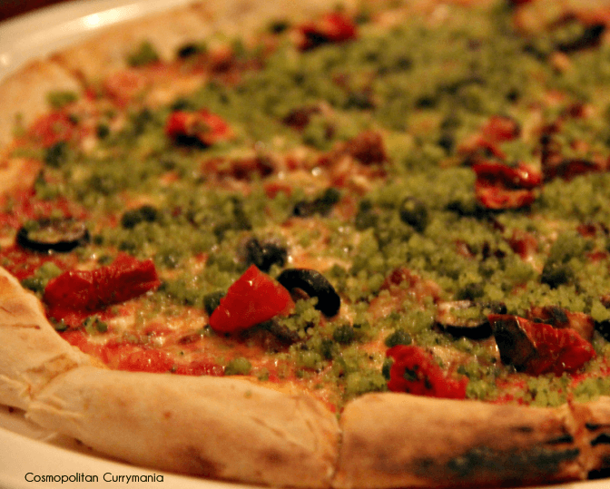 A pizza with mediterannean flavours