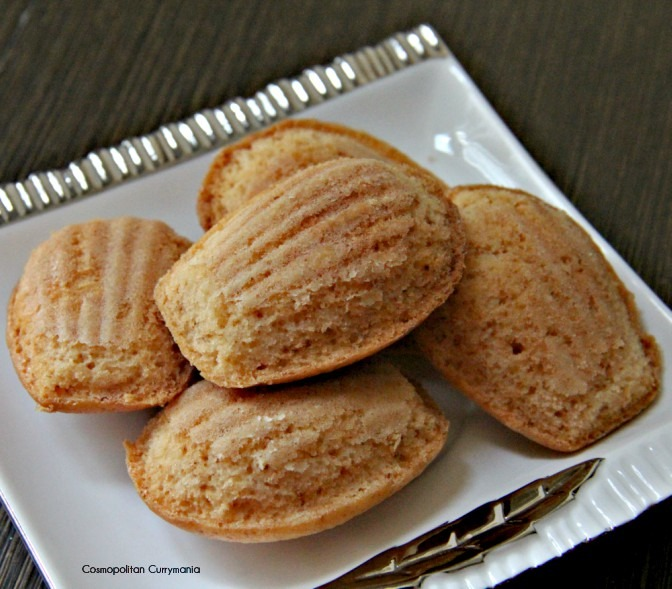 French tea cakes or butter cakes called madeleines