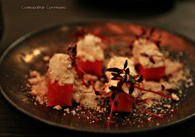 watermelon appetizer at A Bar Called Life, called Popping Tarbooza