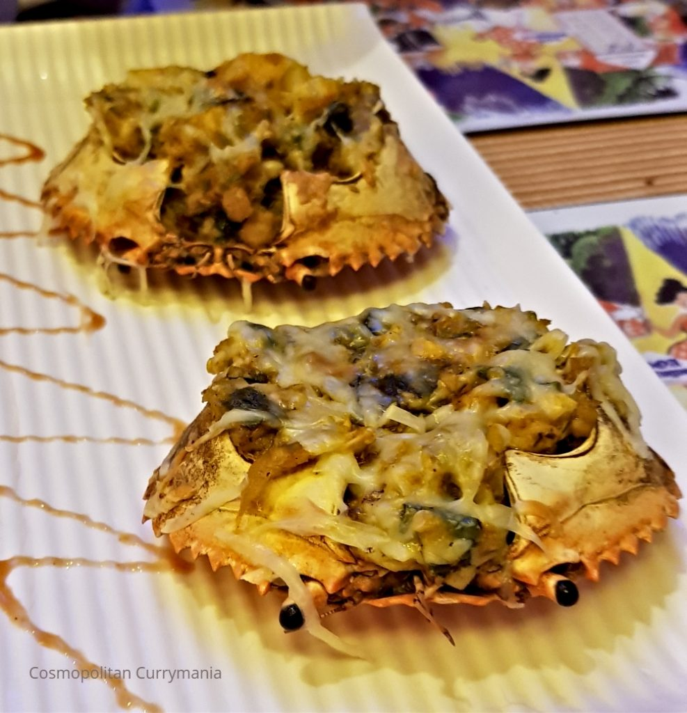 Baked crabs Goan Portuguese style in India