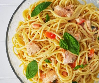 Salmon and Prawn Linguine
